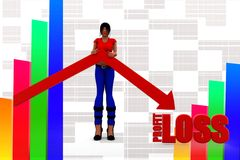 3d women profit loss Royalty Free Stock Images