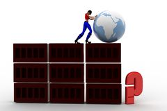 3d women pushing globe Stock Photo