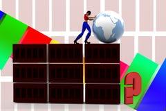 3d women pushing globe illustration Stock Images