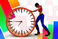 3d women Pushing time illustration Royalty Free Stock Images