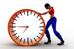 3d women Pushing time illustration Stock Images