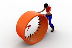 3d women Pushing time illustration Royalty Free Stock Image