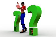 3d women and question mark Royalty Free Stock Photos