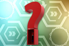 3d women and question mark illustration Royalty Free Stock Photos