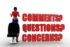3d women Questions, Comments and Concerns Royalty Free Stock Photography