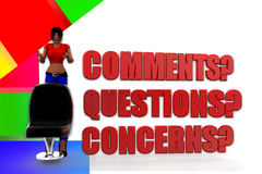 3d women Questions, Comments and Concerns Illustration Royalty Free Stock Photography
