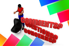 3d women Questions, Comments and Concerns Illustration Royalty Free Stock Image