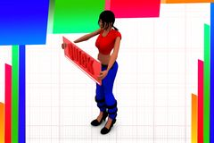 3d women quick illustration Stock Image
