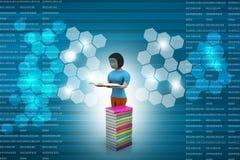 3d women reading book, education concept Stock Photo