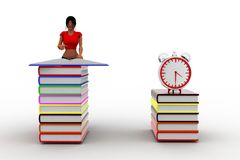 3d Women Reading Books - alarm clock near by Royalty Free Stock Images