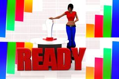 3d women ready illustration Royalty Free Stock Image