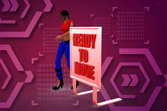 3d women  with ready to move illustration Stock Image