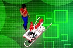 3d women repair cart illustration Royalty Free Stock Images