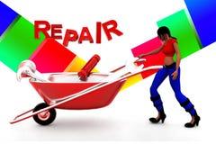3d women repair illustration Royalty Free Stock Photography