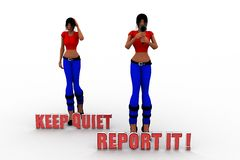 3d Women Report It or Keep Quiet choices Stock Image