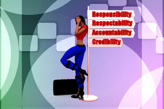 3d women responsibility illustration Stock Images