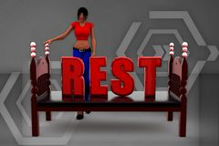 3d Women Rest Illustration Royalty Free Stock Images