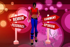 3d women Review feedback illustration Stock Photography