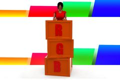 3d women rgb illustration Royalty Free Stock Photo