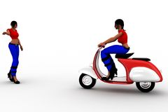 3d women riding scooter and women Stock Images
