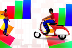 3d women riding scooter and women illustration Royalty Free Stock Images