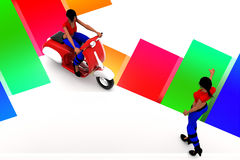 3d women riding scooter and women illustration Stock Photo