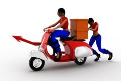 3d women riding vintage scooter delivering cargo Stock Photos