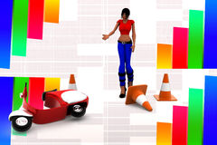 3d women in road accident area illustration Stock Photos