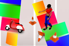 3d women in road accident area illustration Royalty Free Stock Photo