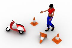 3d women in road accident area Royalty Free Stock Image