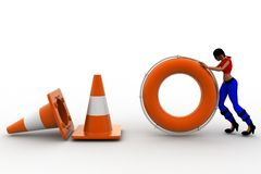 3d women road cone stop Stock Photography