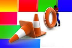3d women road cone stop illustration Royalty Free Stock Photos