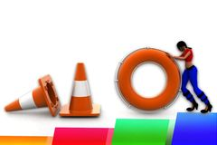 3d women road cone stop illustration Royalty Free Stock Image