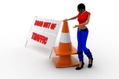 3d women road out of traffic Stock Photography