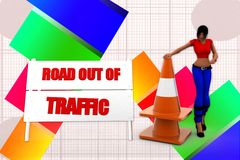 3d women road out of traffic illustration Royalty Free Stock Photos