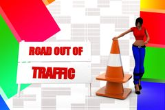 3d women road out of traffic illustration Stock Photo