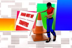 3d women road out of traffic illustration Stock Images