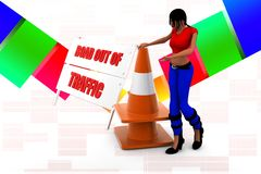 3d women road out of traffic illustration Royalty Free Stock Photo