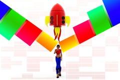 3d women rocket concept Stock Photography