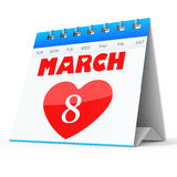 3D Women's Day Calendar, 8 March Royalty Free Stock Photo