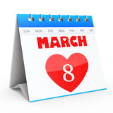 3D Women's Day Calendar, 8 March Stock Image