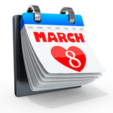 3D Women's Day Calendar, 8 March Royalty Free Stock Image