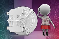 3d women with safe lockers illustration Stock Photography