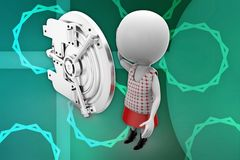 3d women with safe lockers illustration Royalty Free Stock Photos