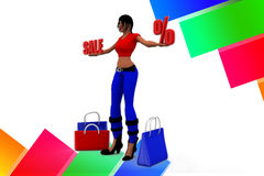 3d Women Sale illustration Stock Photography