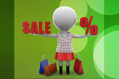 3d women sale percentage illustration Stock Photos