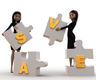 3d women with save alphabet puzzle concept Stock Image