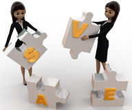3d women with save alphabet puzzle concept Stock Photography