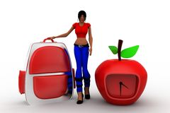 3d Women School  Bag and clock apple Royalty Free Stock Photography