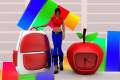3d Women School  Bag and clock apple illustration Royalty Free Stock Photography